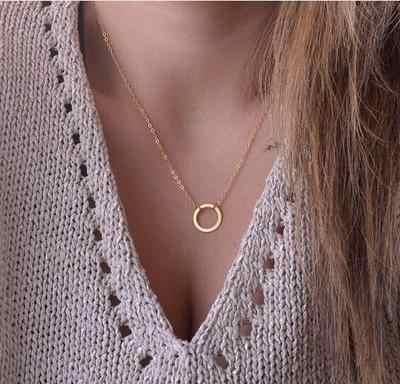 Strona prezent 2018 nowy szczotkowanego na zawsze koło naszyjniki dla kobiet stop moda długi łańcuch geometrické klasyczny okrągły naszyjnik