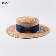 USPOP 2019 New women raffia straw hat female natural sun hats casual bow-knot flat top summer wide brim beach