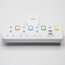 UK Multi Wall Extension Sockets 3250W 13A 250V Electrical Plug with 2100mA USB charger 3 AC Individually Switches power strip