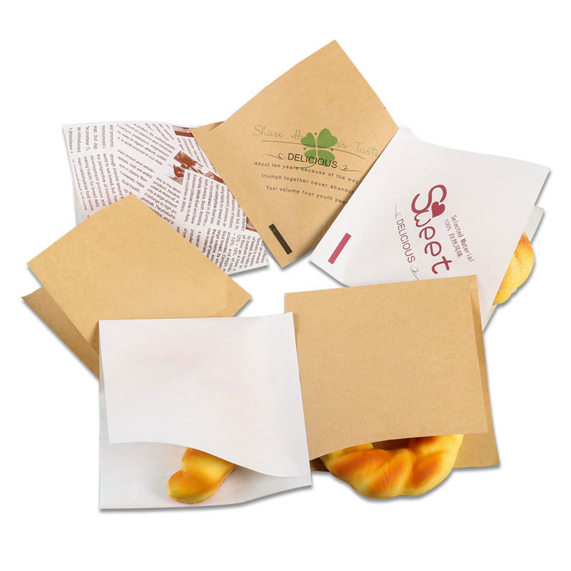 20 Pcs 15x15cm Trigonometric Kraft Paper Bag Donuts Sandwich Bags For Bakery Bread Food Packaging Bags White Brown Customized