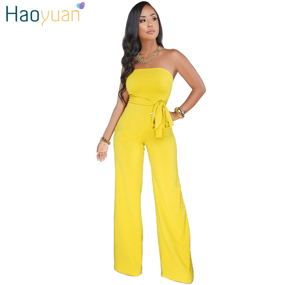 HAOYUAN Off Shoulder Sexy Jumpsuit Elegant Ladies Wrap Summer Overalls Clubwear One Piece Long Wide Leg Rompers Womens Jumpsuit