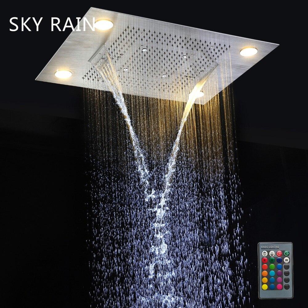 KEMAIDI Good Quality Rainfall Square Shower Head Bathroom Shower Set Wall Mounted Basin Overhead LED Light New Chrome Finished - 5