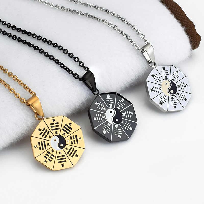SOITIS çin geleneksel sembolü Tai Chi kolye Bagua Yin Yang kolye kolye kadın erkek klasik NecklaceBlack altın gümüş