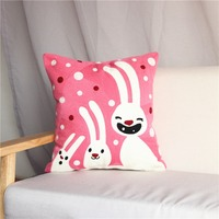 Cartoon Pink Rabbit Cushion Cover For Sofa 1PC Embroidery Seat Cushion Case 45 45cm Square Pillow