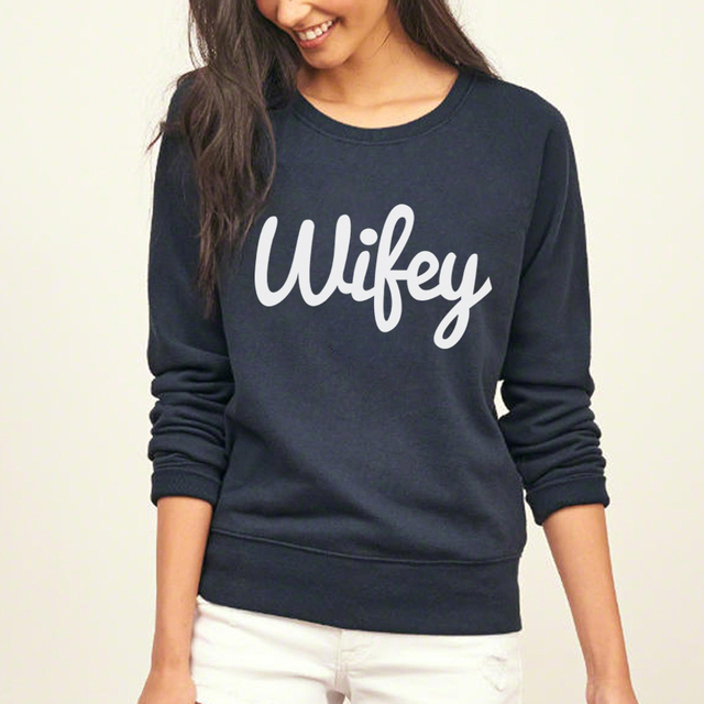 Wifey Print Loose Fit Jumper