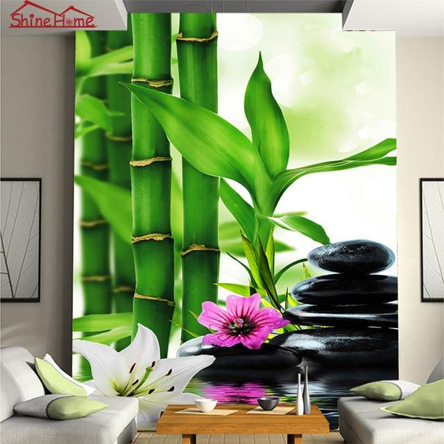 Masaje spa piedra de bamb 3d foto papel pintado para for Papel pintado pared salon