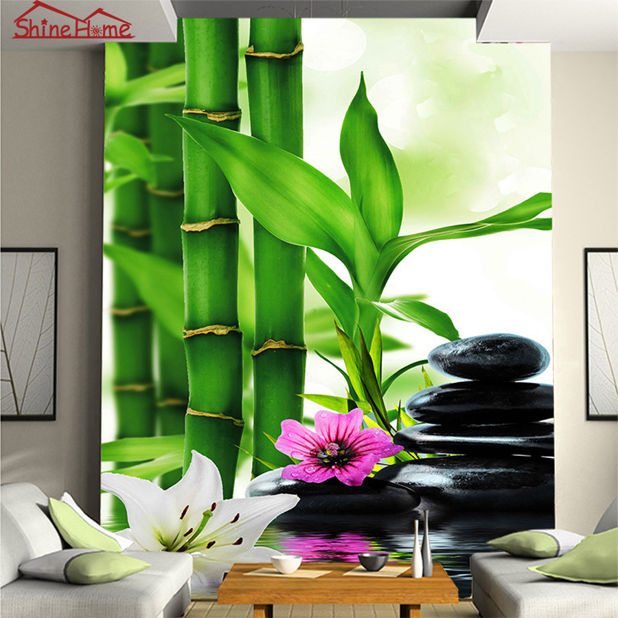 Spa massage bamboo stone 3d photo brick wallpaper for for Salon pictures for wall