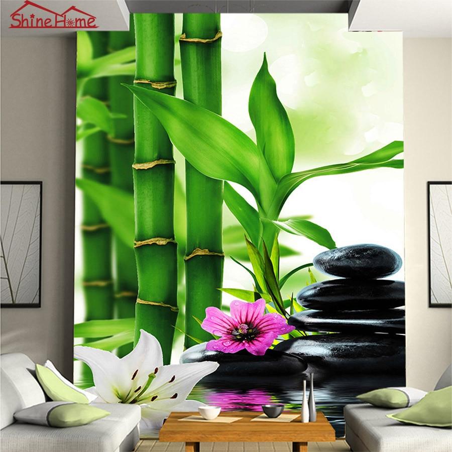 SPA Massage Bamboo Stone 3d Photo Brick Wallpaper for