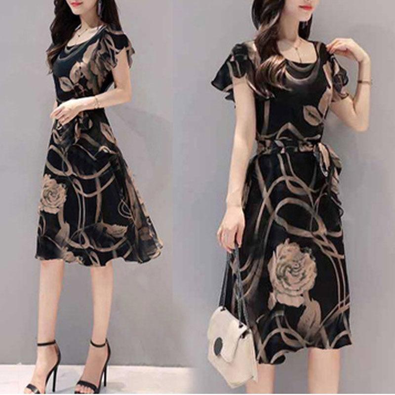 Women Dress Floral Printed A-line Slim Fit U Neck Dress for Summer NYZ Shop