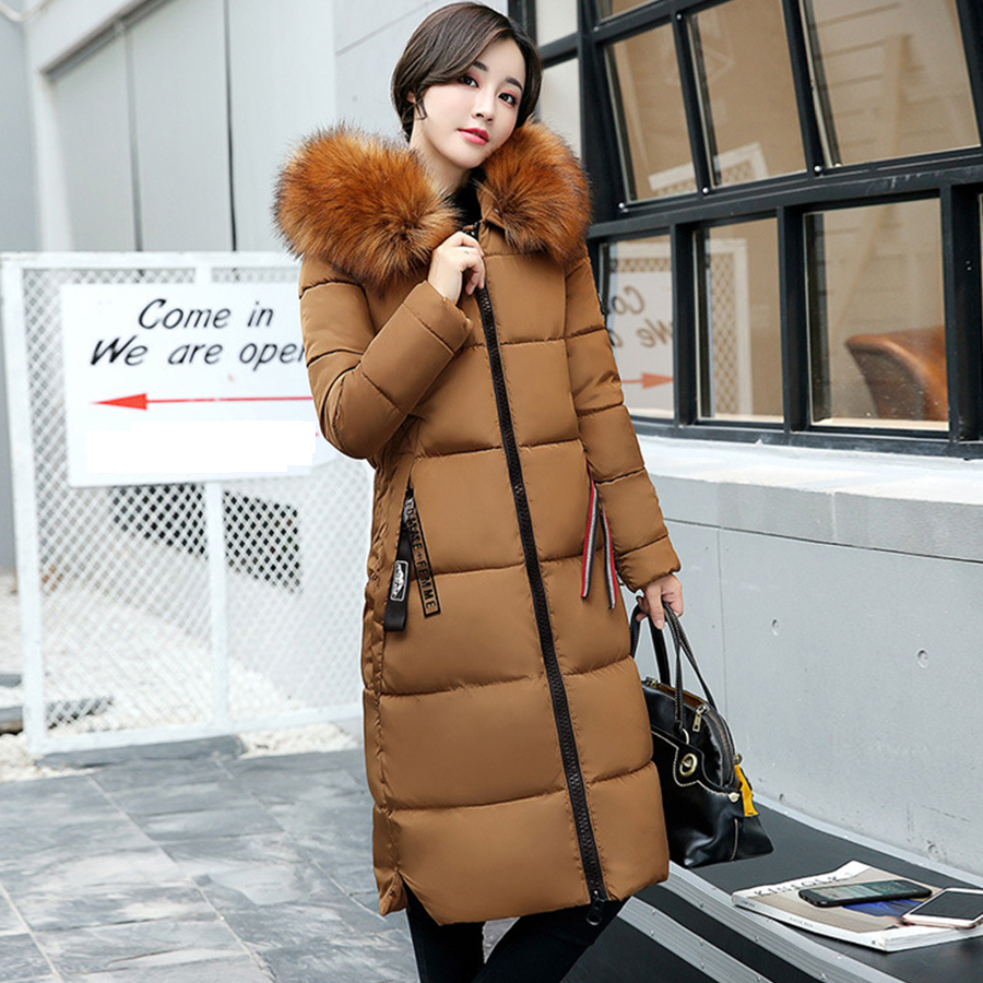 Women Thicken Long Hooded   Down     Coat   Soild Warm Big Fur Collar Womens Jacket Luxurious Elegant Winter Casual   Down   Jacket New