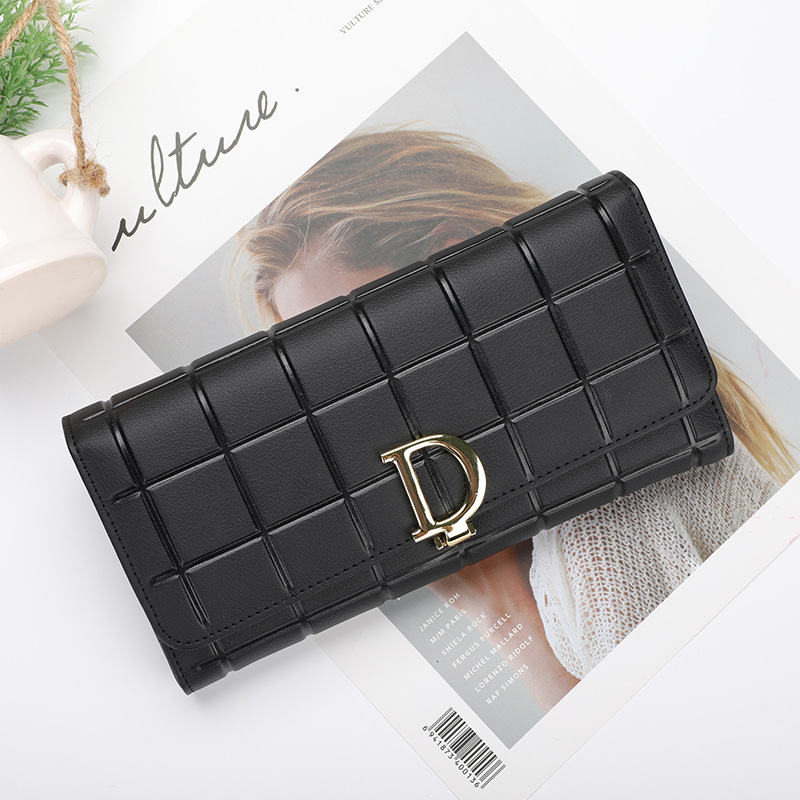 купить High Quality Genuine Leather Women Wallet Long Hasp Wallets Luxury Brand Plaid Coin Purse Female Clutch Ladies Leather Wallets по цене 948.34 рублей
