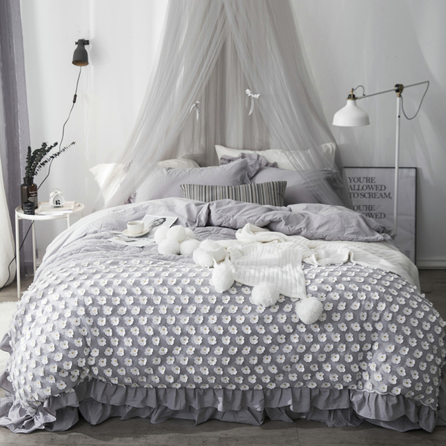 Gray White Princess Bedding Set Twin Queen King Bed set Cotton Bed sheet  set Duvet Cover linge de lit juego de cama funda cama