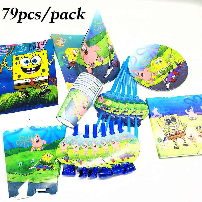 79 pcs conjunto louças tema SpongeBob Bob Esponja Bob Esponja descartável copos de chapas de guardanapos guardanapos descartáveis caixas de pipoca blowouts