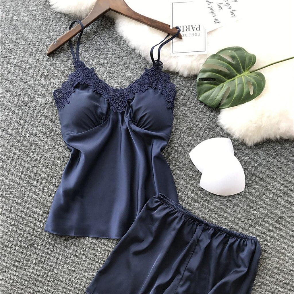 S-2XL Women's Sleepwear Sexy Satin Sleepwear Set Black Lace V-Neck Pyjamas Sleeveless Cute Cami Top and Short pijama mujer FB