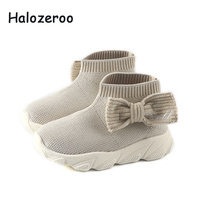 Autumn Kids Black Casual Sneakers Baby Girls Mesh Sock Shoes Children High Sport Sneakers Toddler Bow Brand Sneakers Trainers