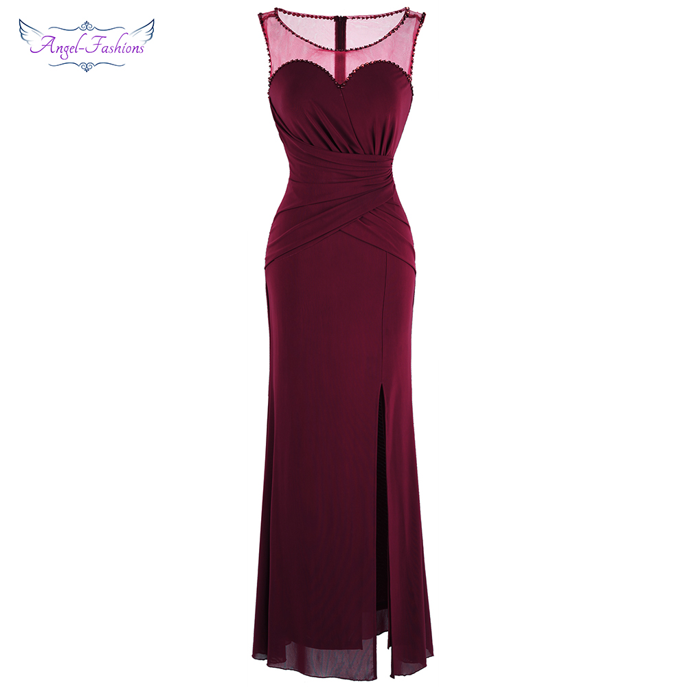 Angel-fashions Women's Sheer Pleated Long   Evening     Dress   Wine Red New Party Gown Mother   Dresses   J-190112-S 403