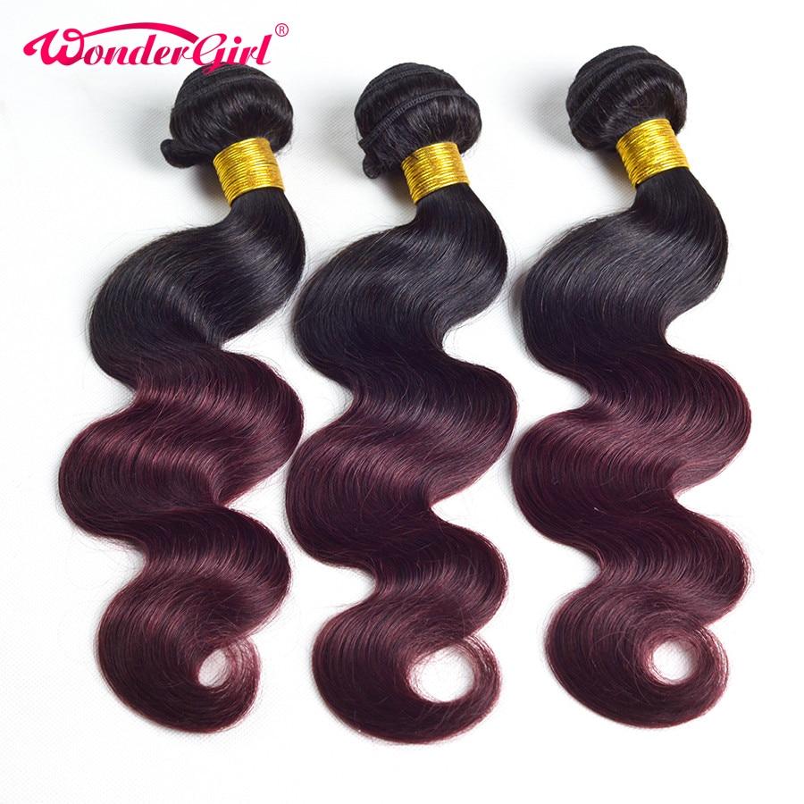 3 offres Bundle Bundles de cheveux Ombre Brésilien Body Wave 1B 99J - Cheveux humains (noir) - Photo 3