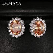 Emmaya Fashion Oval Zircon Stud Earrings for Women Present Gift Blue Crystal Bijoux for Girls 5 Colors Options