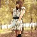 Lady Real Piece Rabbit Fur Vest Waistcoat Hooded Autumn Winter Women Fur Outerwear Coats Female Gilet Plus Size 1024