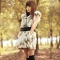 Lady Real pedaço de pele de coelho colete com capuz outono inverno pele das mulheres casacos casacos feminino Gilet Plus Size 1024
