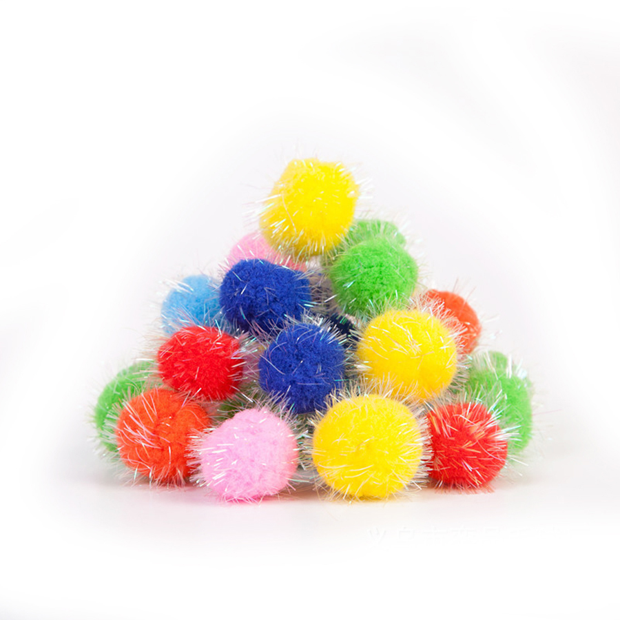 10/15 / 20mm Glitter Pompon Plush Balls DIY Kraf Home Decorative Flowers Intelligence Educational Toy Accessories