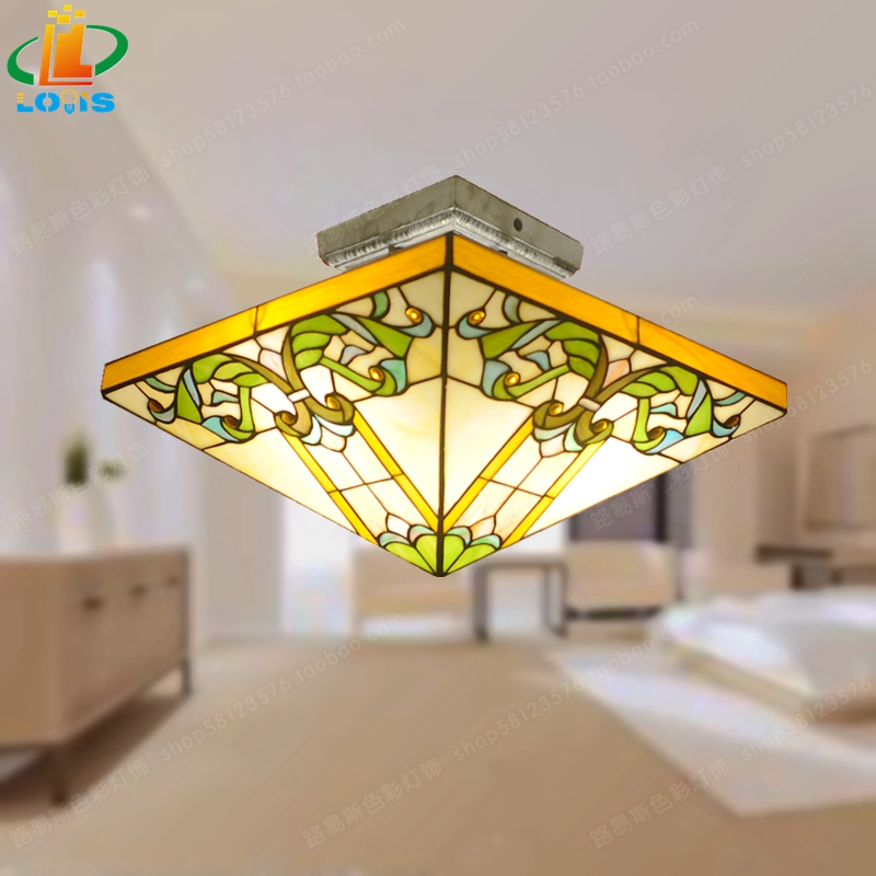 Us 196 6 Morocco Style Square Ceiling Lamp Half Children Tiffany Bedroom Study Ancient European Retro Lamps Pure Handmade Gl In