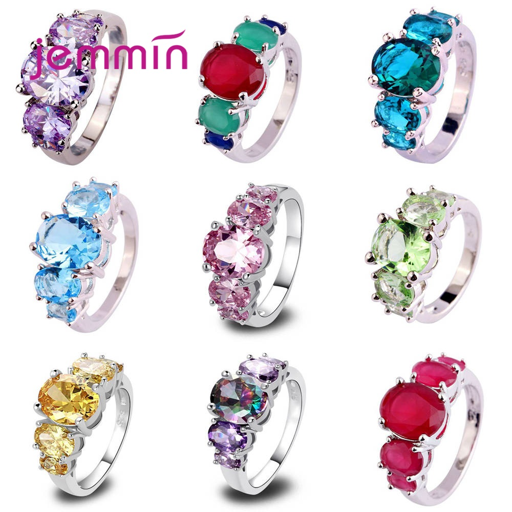 Top Quality 925 Sterling Silver Jewelry Rings Wedding Anel For Women Girls Pave Shiny Clearest Cubic Zirconia Multi-color Option