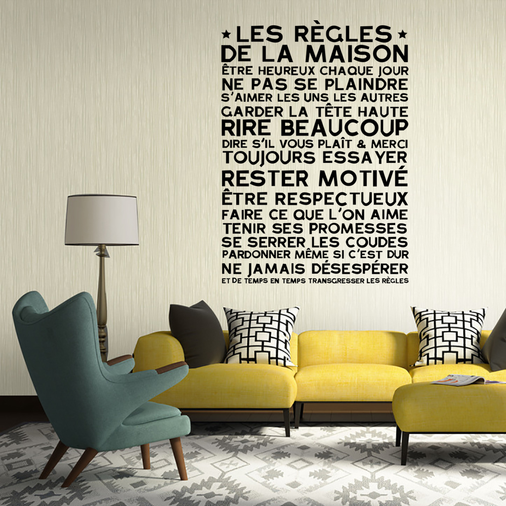 online get cheap wall quote designs aliexpress com alibaba group art design house rules wall sticker french version family quote waterproof removable home decor vinyl home