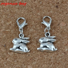 MIC 100Pcs Antique Silver Alloy Bunny Rabbit Charms Bead with Lobster clasp Fit Charm Bracelet 13 x 28mm DIY Jewelry A-226b