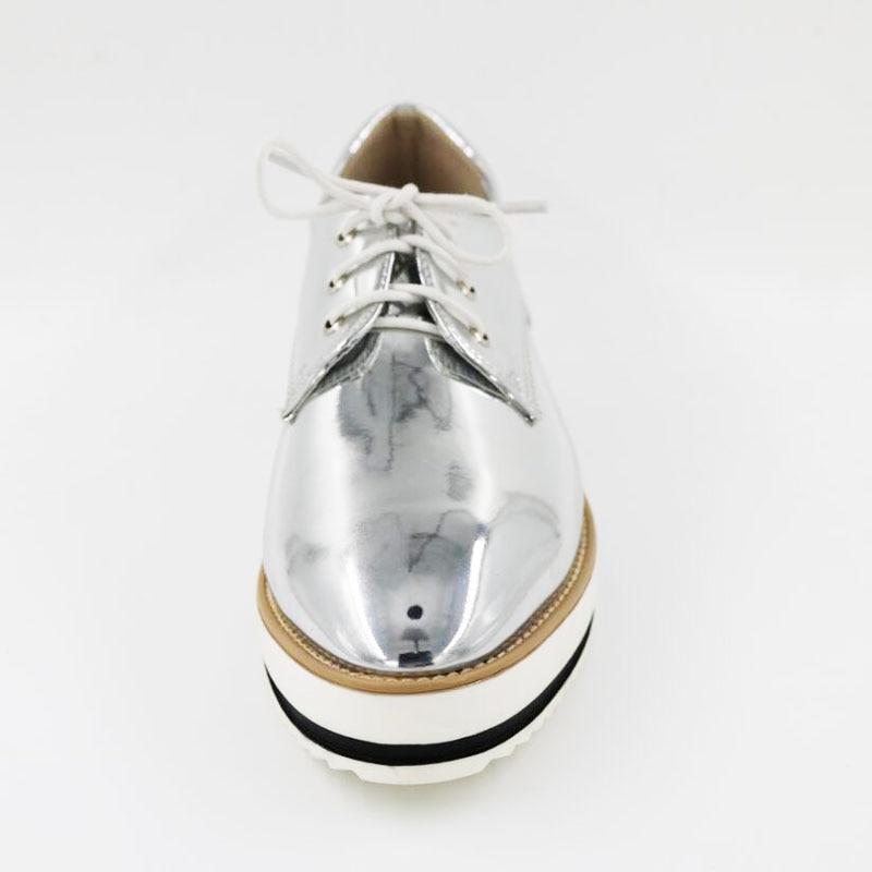 Nouveau Blanc Black Gris Vintage 9 Plat Chaussures De Oxford Femmes forme sliver Rayé Noir Ailes Ruban Métallique Plate Lacent Nous rUwrC0q