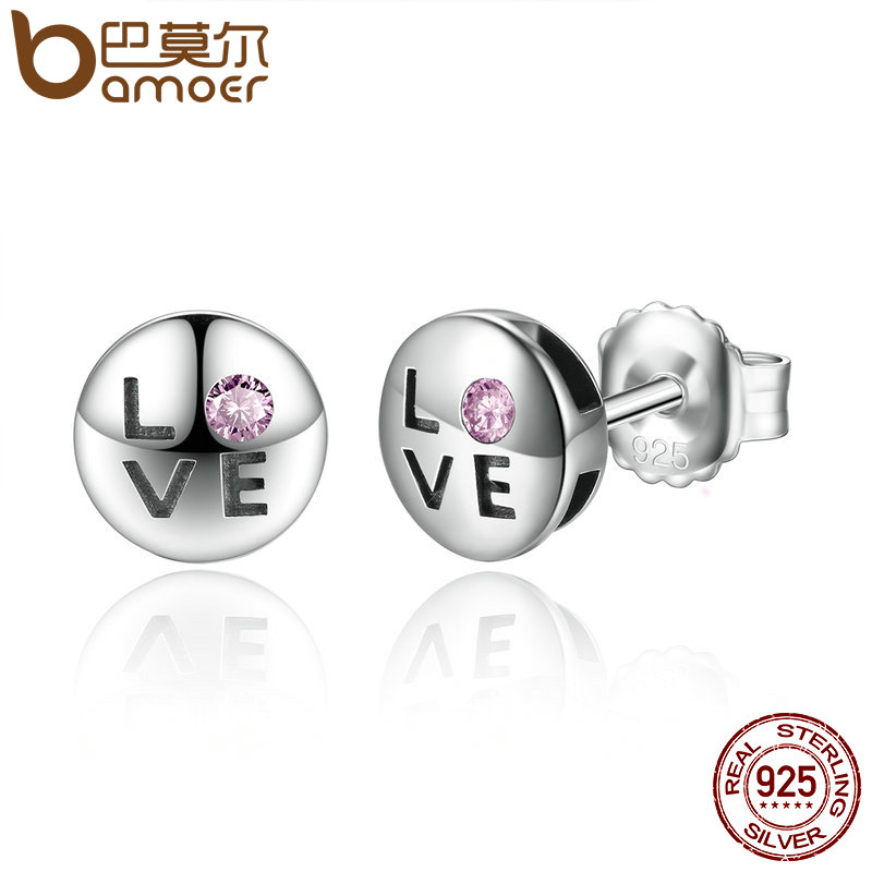 BAMOER Romantic Gift 100% 925 Sterling Silver Pink Crystals LOVE Small Stud Earrings for Women Fashion Jewelry SCE024-1L органайзер автомобильный airline ao mt 07