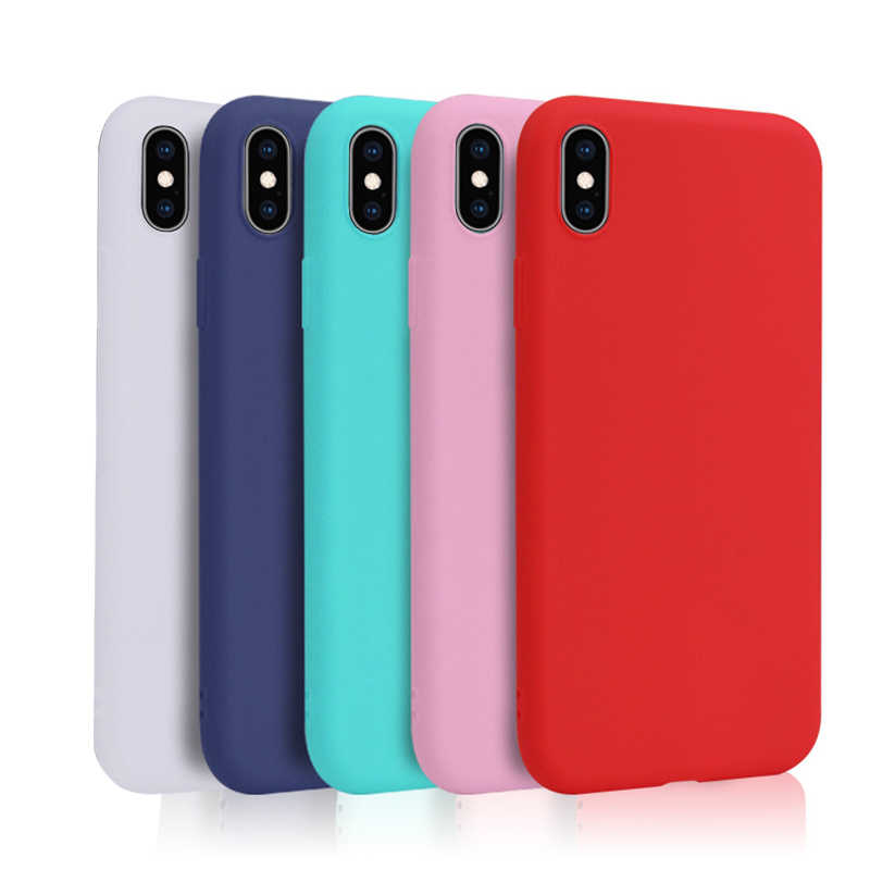 Matte Phone Case For iPhone 7 Plus 6 6s 8 X XR XS MAX 7Plus Simple Solid Color Ultrathin Soft TPU Cases Candy Color Back Cover
