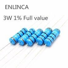 10 шт. 3 Вт 1% металлического пленочного резистора 4.7R 5.1R 5.6R 6.2R 6.8R 7.5R 8.2R 9.1R 10R 12R 15R 18R 20R 22R 24R 27R 30R 33R 36R 39R