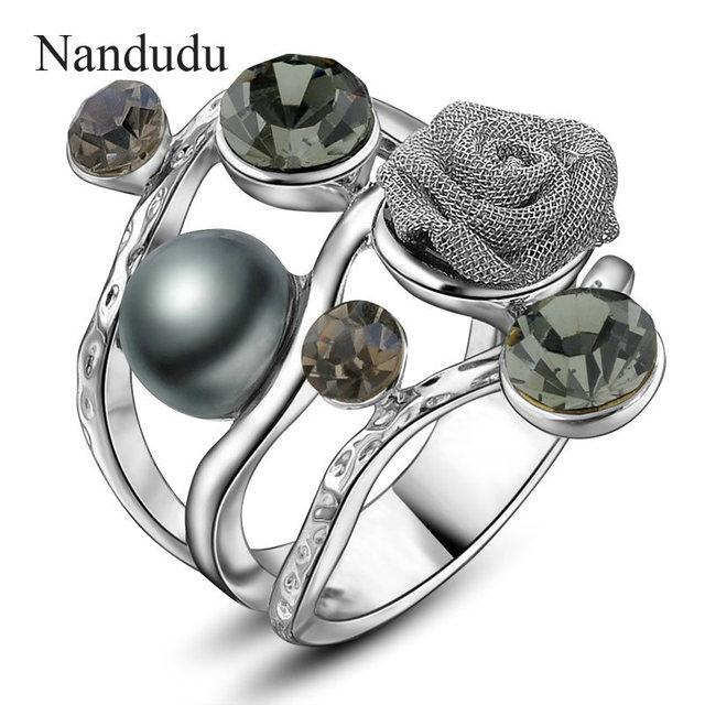 Nandudu Weiß Gold Farbe Draht Mesh Blume Ring Kristall & simulierte ...