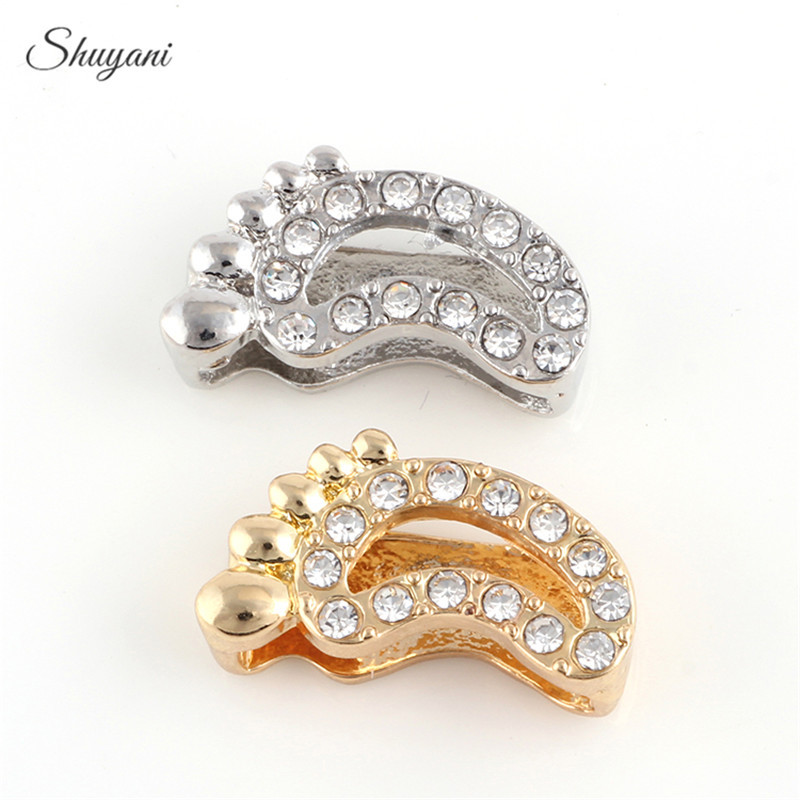 10PCS Internal Dia.14mm Alloy Crystal Baby Feet Slide Charms fit DIY  Wristband Bracelet   Necklace Jewelry a9e311f10f6e