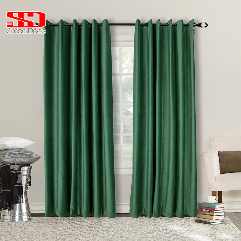 Blue Green Kitchen Curtains: Blackout Solid Modern Style Curtains For Living Room