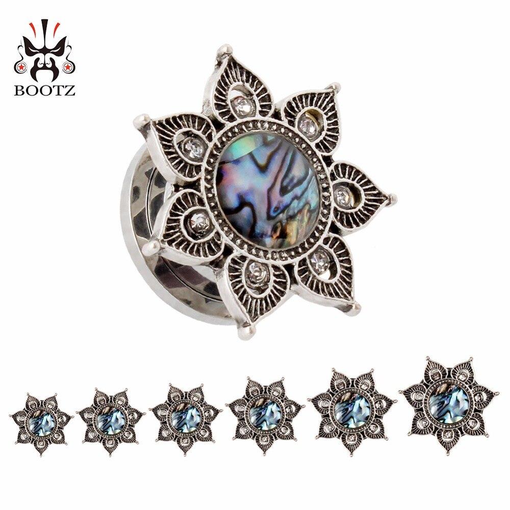 Chegada nova moda aço inoxidável ear plugs túneis piercing corpo jóias de opala parafuso expansor calibres atacado