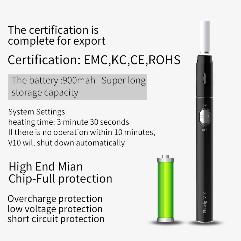 Pluscig V10 vape pen 900mah Battery Charged Electronic Cigarette Kits Compatibility with Brand Heating Tobacco stick (Upgrade) 2