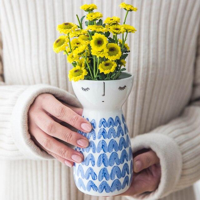 1pc Cute Girl Vase Ceramic Flower Vase Modern Elegant Vase Porcelain