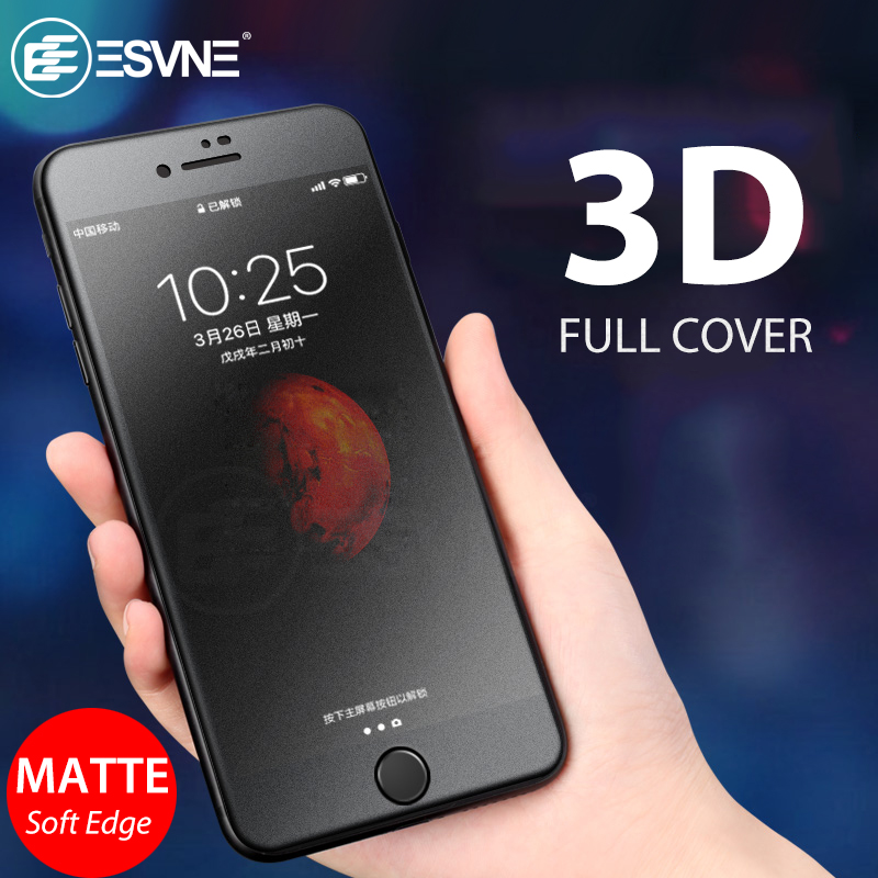ESVNE 3D Matte Protective glass for iPhone 6 7 8 Glass Soft Edge Film 9H For 6s Plus Screen Protector Tempered