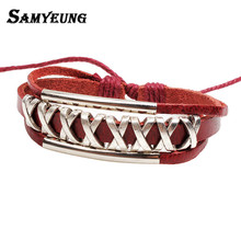 Bohemian Braided Leather Bracelets for Women Vintage Rope Ch