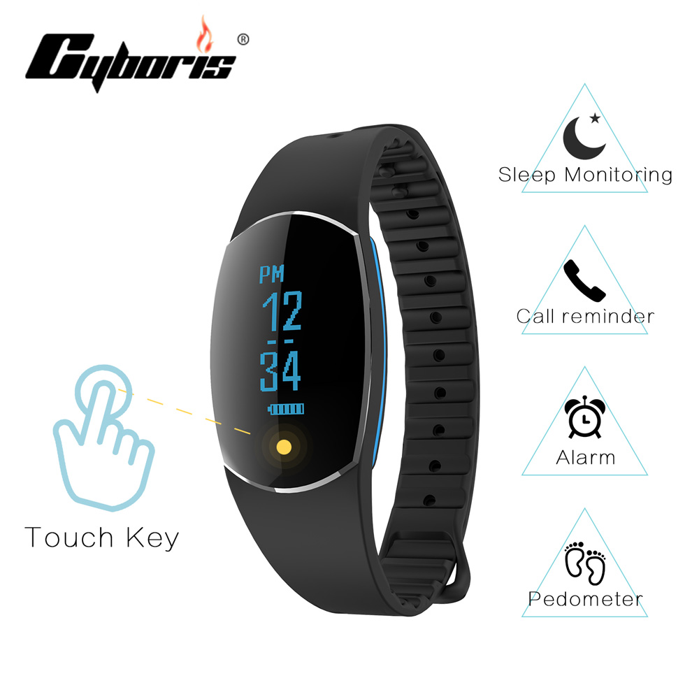 Cyboris Bluetooth Smart Touch Screen Bracelet Smart Band Heart Rate Monitor Fitness Wristband Call Reminder for