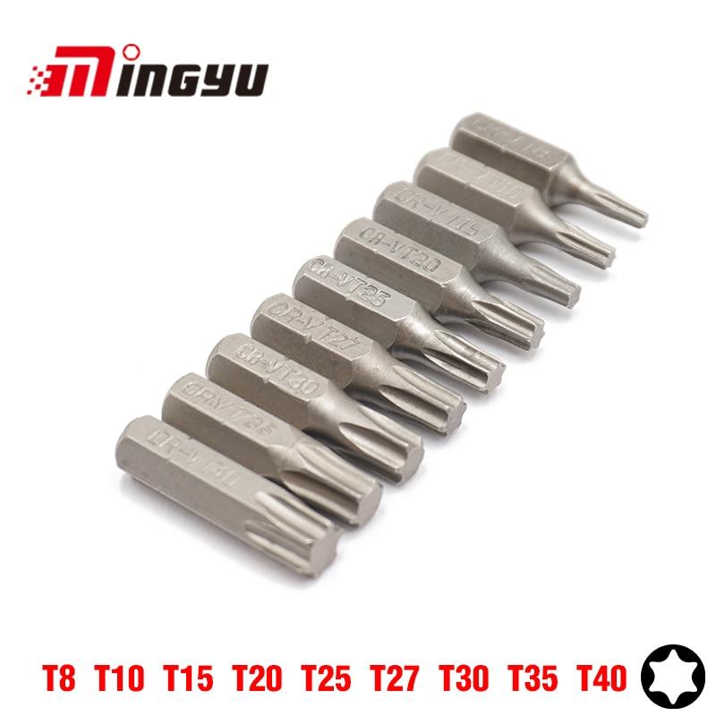 "9PCS 25MM 1/4"" Torx T8-T40 Screwdriver Bit Set Repair Tools Screwdrivers Kit Hex Shank Drill Bit For Power Household Hand Tools"