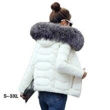 winter coat female female jacket 2017 fashion new women's self-cultivation silver fox color big fur collar feather coat female недорого