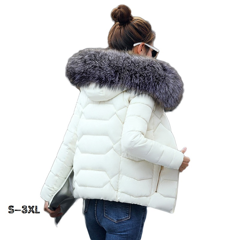 Winter Coat Female Female Jacket 2019 Fashion New Women's Jackets Winter Womens Silver Fox Color Big Fur Collar Feather Coa