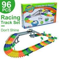96PCS Miraculous Race Track Bend Flex Car Toy Magic Racing Track Set DIY Track Electric Rail