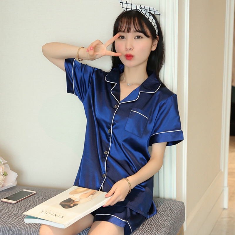 2019 New Summer Short Sleeve Silk Satin   Pajama     Set   Two Piece Women Sleepwear Sexy Nightwear Women Shorts Pyjama Homewear pijama