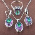 Huevo Diseño Multicolor Del Arco Iris de Las Mujeres Zirconia 925 de Plata Juegos de Joyería Collar Colgante Pendientes Anillos Envío Gratis TZ031