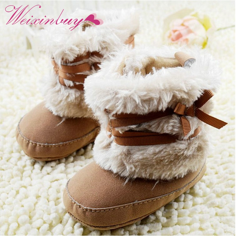 511c479cd821f US $2.76 23% OFF|Hot Baby Shoes Infants Crochet Knit Fleece Boots Toddler  Girl Boy Wool Snow Crib Shoes Winter Booties-in First Walkers from Mother &  ...