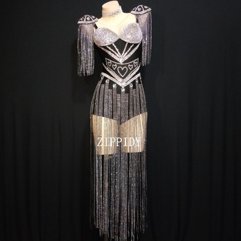 2019 New 4 Colors Crystals Epaulet Leotard Sexy Dance Sparkly Tassel Outfit Celebrate Bodysuit Costume Stage Singer Dance Wear